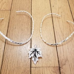 Two bangle style necklaces w/ crystal leaf pendant